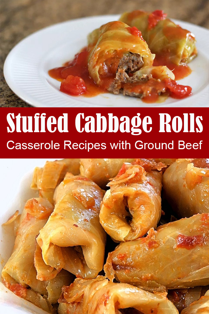Casserole Recipes with Ground Beef - Baked Stuffed Cabbage Rolls