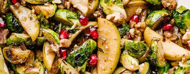 Brussel Sprouts Salad with Apples and Candied Walnuts