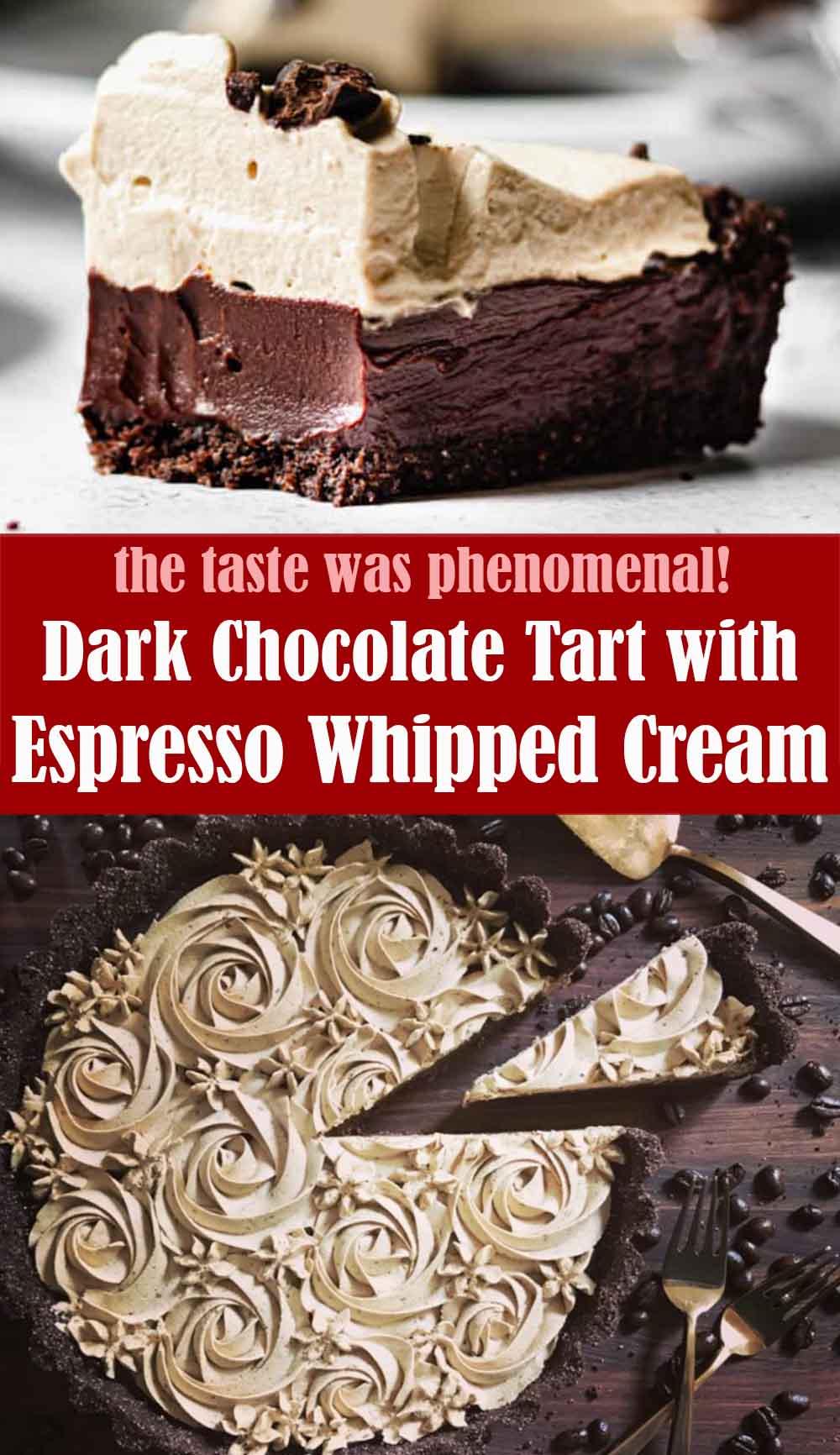 Dark Chocolate Tart with Espresso Whipped Cream
