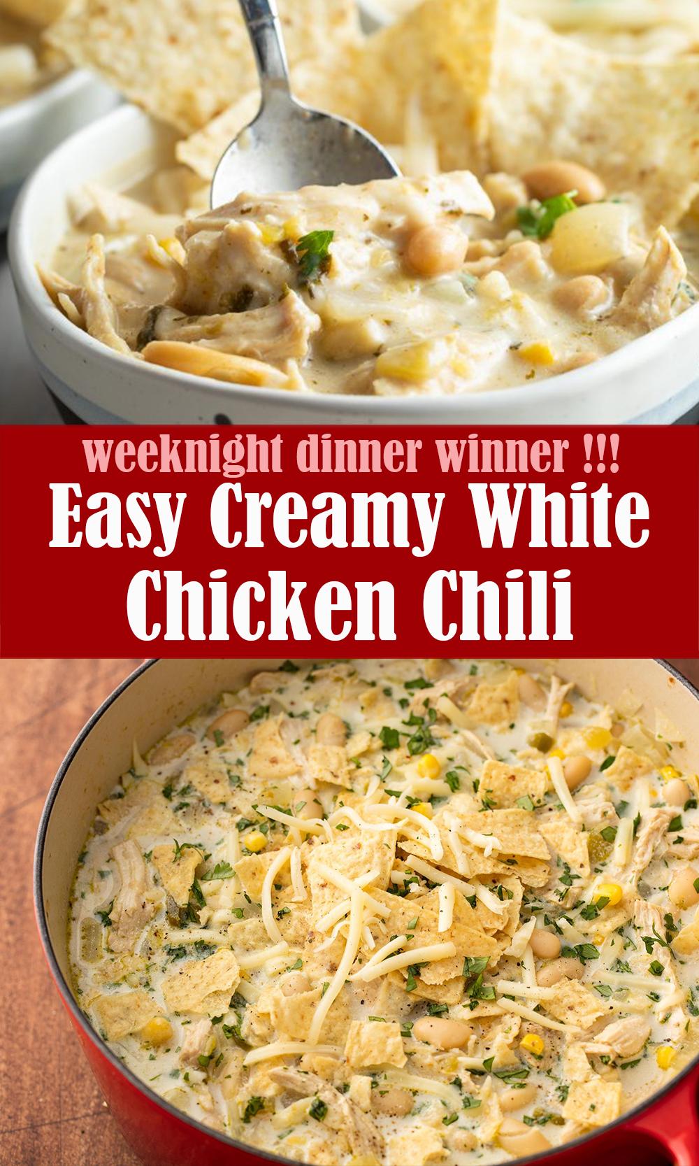 Easy Creamy White Chicken Chili