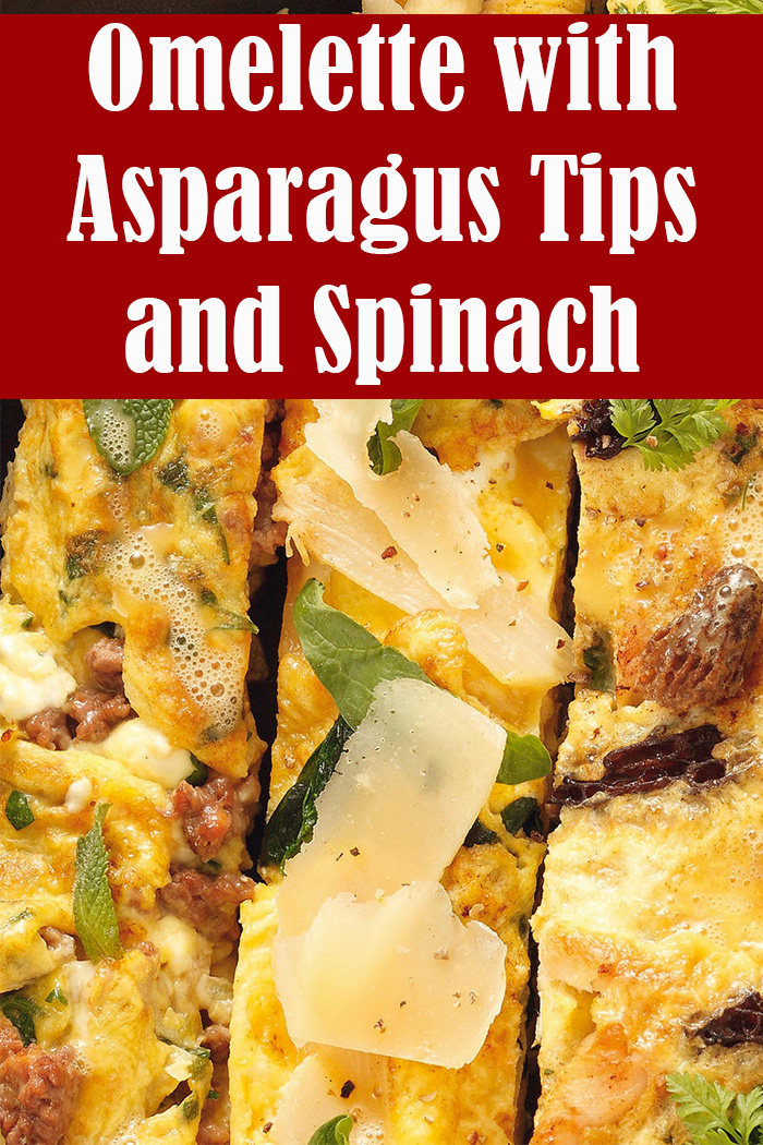 Omelette with Asparagus Tips and Spinach Shoots