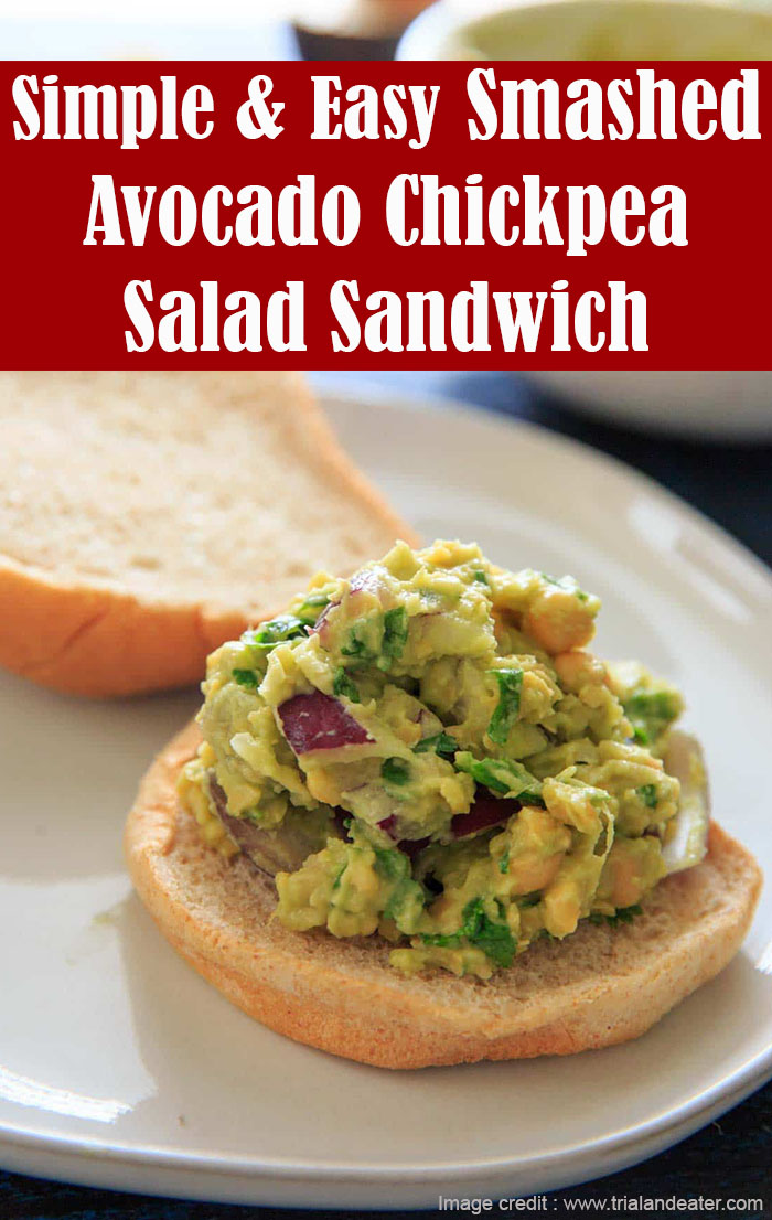 Simple and Easy Smashed Avocado Chickpea Salad Sandwich