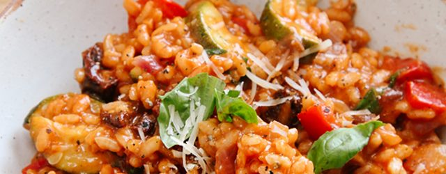 Tomato and Roasted Mediterranean Vegetable Risotto Vegan